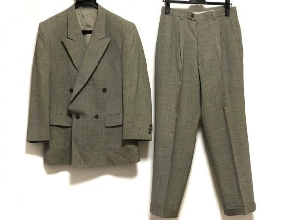 LANVIN(ランバン) ダブルスーツ サイズR46-44-82 メンズ グレー 肩パッド/ネーム刺繍