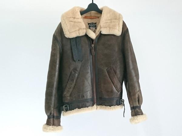 アビレックス コート サイズ36 S メンズ ダークブラウン×アイボリー ムートン/冬物