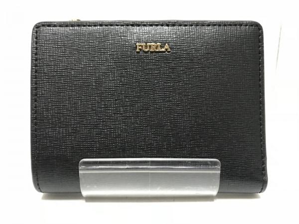FURLA(フルラ) 2つ折り財布新品同様  黒 L字ファスナー レザー