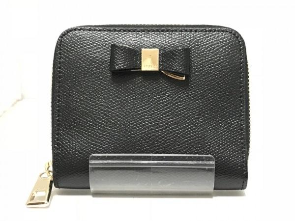 FURLA(フルラ) 2つ折り財布 黒 ラウンドファスナー/リボン レザー