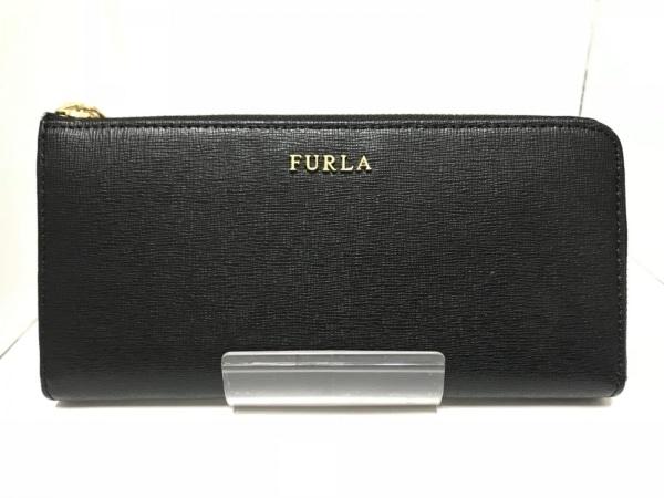 FURLA(フルラ) 長財布 黒 L字ファスナー レザー