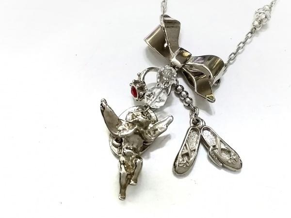 ロイスクレヨン ネックレス美品  金属素材×ラインストーン シルバー×クリア×レッド