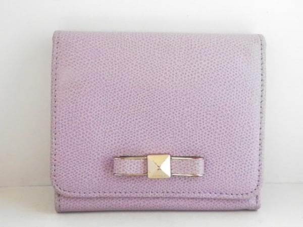 FURLA(フルラ) 3つ折り財布 パープル リボン レザー