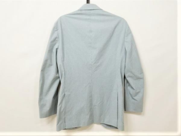 カンタレリ ジャケット サイズ46 XL メンズ美品  ブルー チェック柄/ネーム刺繍