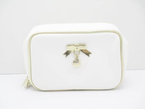 Dior Beauty(ディオールビューティー) ポーチ美品  白×ゴールド リボン 合皮