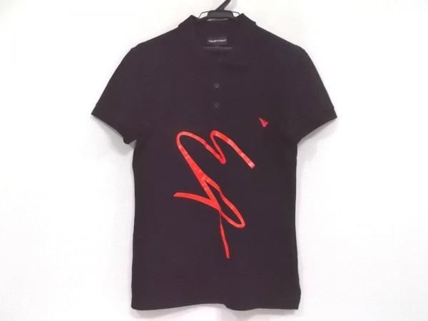 EMPORIOARMANI(エンポリオアルマーニ) 半袖ポロシャツ サイズL メンズ 黒×レッド