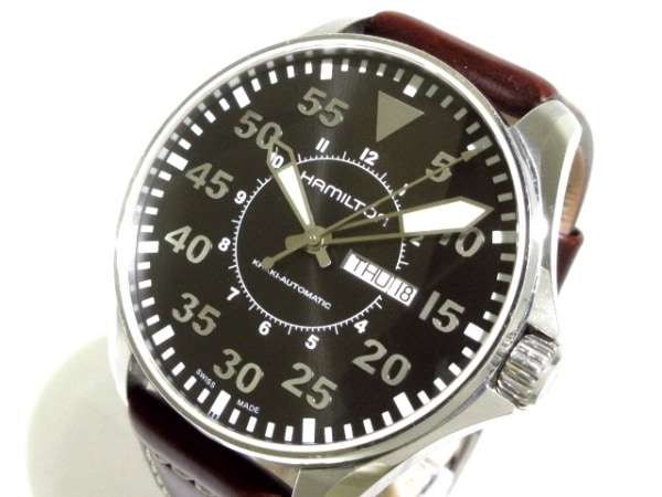 HAMILTON(ハミルトン) 腕時計 カーキ H647150 メンズ 裏スケ/革ベルト 黒