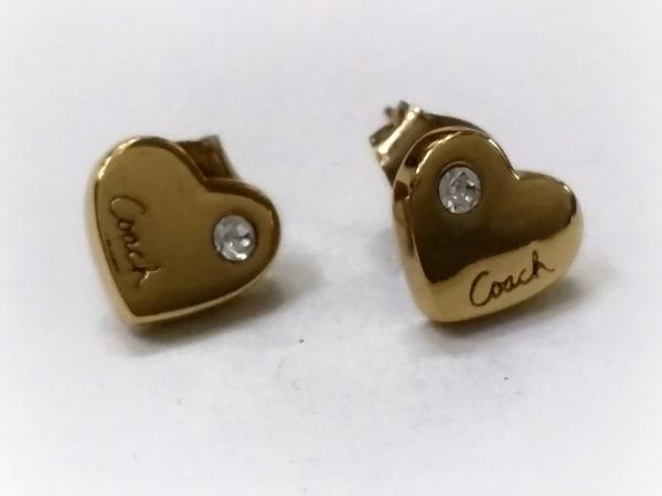 COACH(コーチ) ピアス 金属素材×ラインストーン ゴールド×クリア ハート