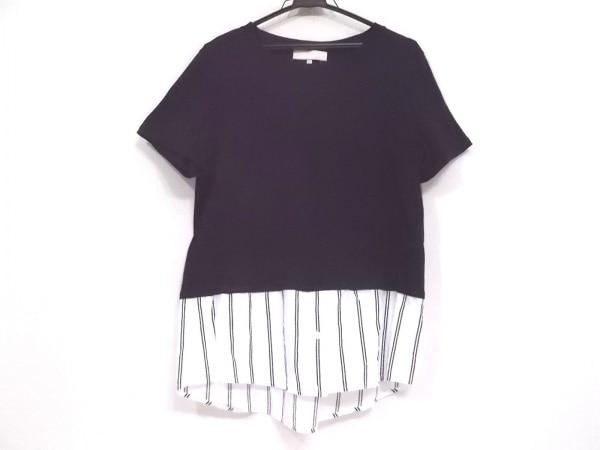 ジユウク 半袖Tシャツ サイズ44 L レディース美品  ダークネイビー×白