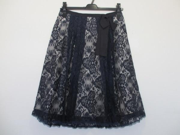 ロイスクレヨン スカート サイズM レディース美品  ネイビー×アイボリー×黒