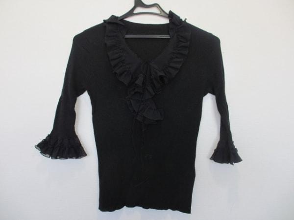 Lois CRAYON(ロイスクレヨン) 七分袖カットソー サイズM レディース美品  黒 フリル