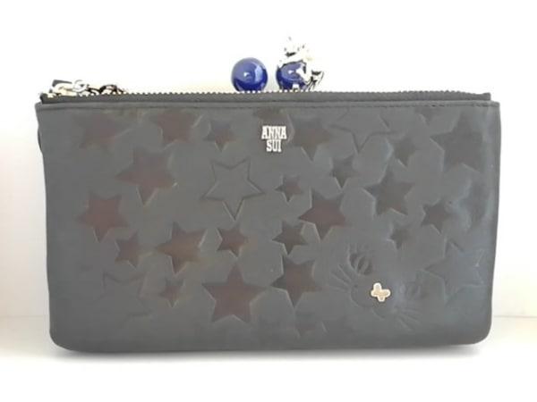 アナスイ 財布美品  黒×ネイビー×ゴールド がま口/スター/ネコ/チェーンウォレット