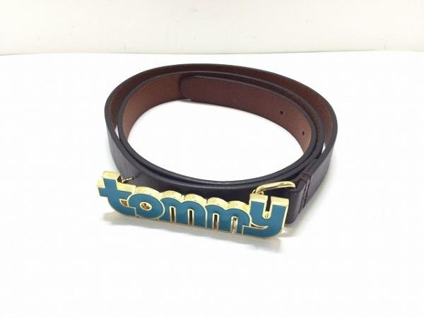 TOMMY(トミー) ベルト ダークブラウン×ライトブルー レザー×金属素材