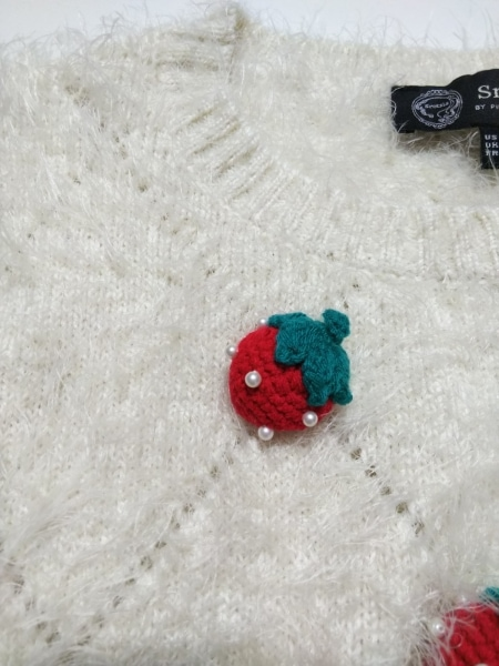 スレトシス 七分袖セーター サイズ38 M レディース アイボリー ショート丈/イチゴ