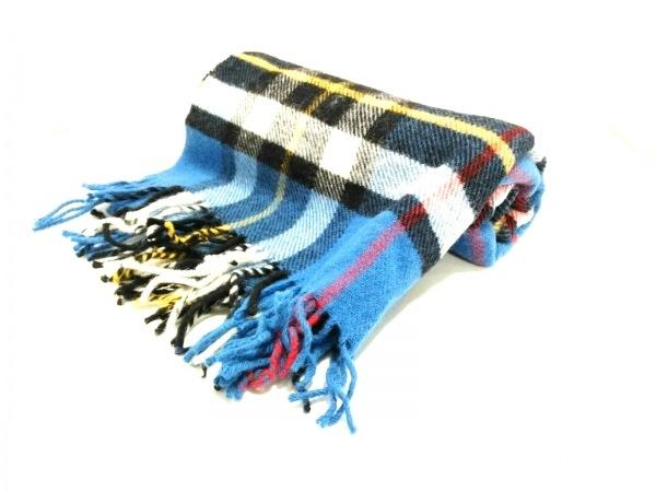 TWEEDMILL(ツイードミル) マフラー美品  ブルー×黒×マルチ 大判/チェック柄 ウール