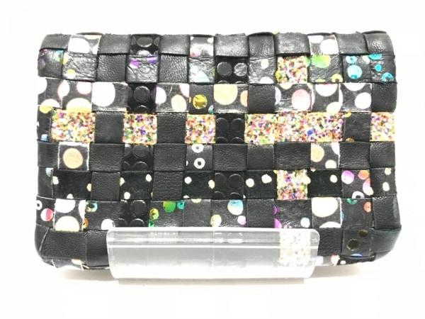 ツモリチサトキャリー 2つ折り財布 黒×ピンク×マルチ ドット柄/編み込み レザー