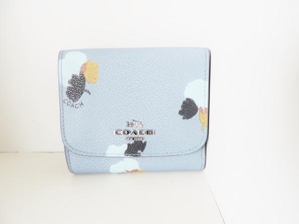 COACH(コーチ) Wホック財布 - ライトブルー×黒×マルチ PVC(塩化ビニール)×レザー