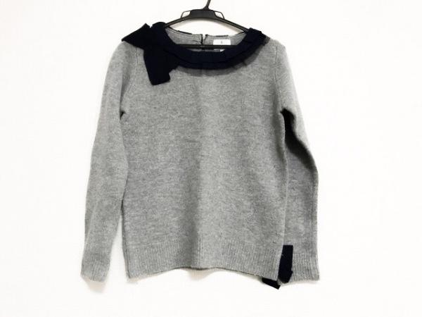 ランバンオンブルー 長袖セーター サイズ38 M レディース グレー×ネイビー