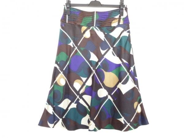 セリーヌ スカート サイズ36 S レディース美品  ダークブラウン×グリーン×マルチ