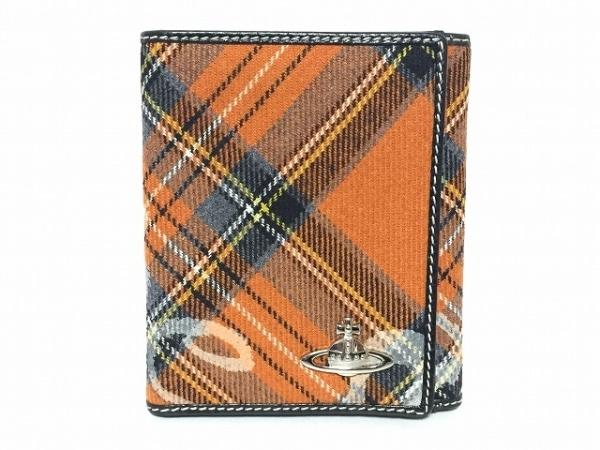 ヴィヴィアンウエストウッド Wホック財布 オレンジ×黒×マルチ チェック柄