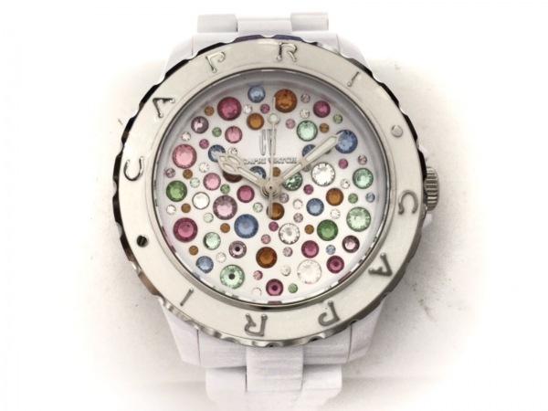 カプリウォッチ 腕時計 4984 レディース スワロフスキークリスタル 白×マルチ
