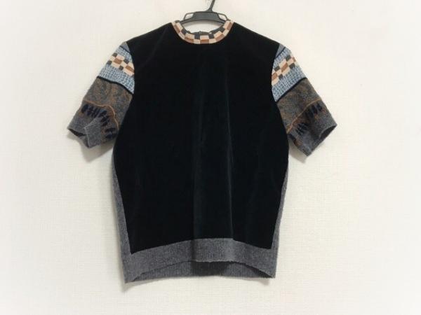 KENZO(ケンゾー) 半袖カットソー サイズL レディース美品  黒×ライトブルー×マルチ