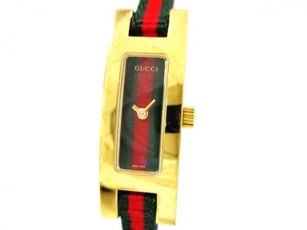 GUCCI(グッチ) 腕時計 シェリー 3900L レディース グリーン×レッド