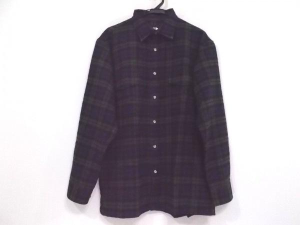ノースフェイス 長袖シャツ サイズLL メンズ ネイビー×グリーン×黒 チェック柄