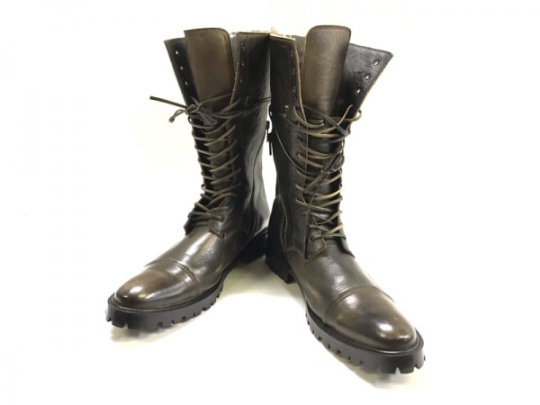 COMME CA MEN(コムサメン) ブーツ 26 メンズ美品  ダークブラウン レザー