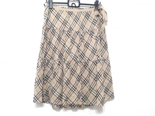 バーバリーブルーレーベル スカート サイズ38 M レディース ベージュ×黒×マルチ