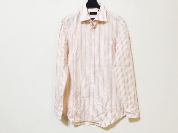 ポールスミス 長袖シャツ サイズL メンズ 白×オレンジ×マルチ ストライプ