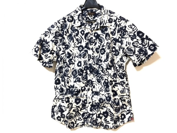 PaulSmith(ポールスミス) 半袖シャツ サイズM メンズ アイボリー×ネイビー