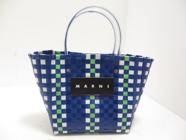 マルニ トートバッグ ブルー×白×ライトグリーン かごバッグ 化学繊維×ビニール
