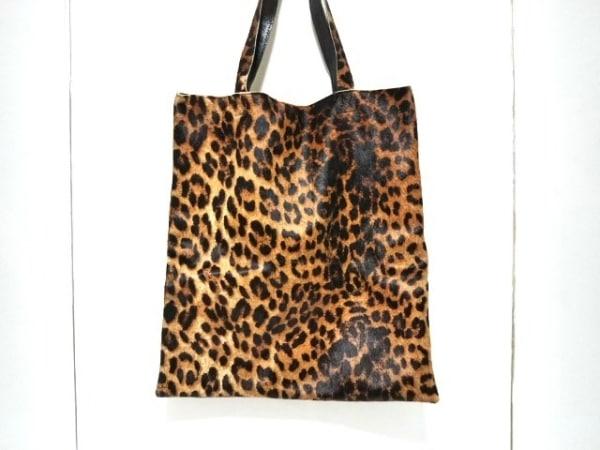 エックスクリエーション ハンドバッグ ブラウン×黒×ダークブラウン 豹柄 ハラコ