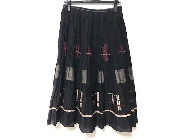 ロイスクレヨン ロングスカート サイズM レディース美品  黒×レッド×アイボリー