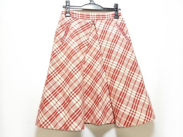 バーバリーブルーレーベル スカート サイズ36 S レディース美品  レッド×アイボリー