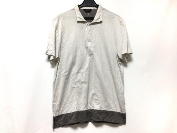 ジョセフオム 半袖ポロシャツ サイズ48 XL レディース アイボリー×ダークグレー
