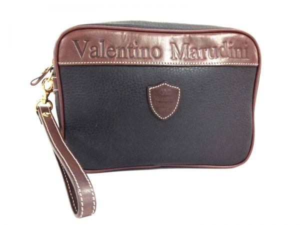 バレンチノマルディーニ セカンドバッグ美品  黒×ダークブラウン レザー