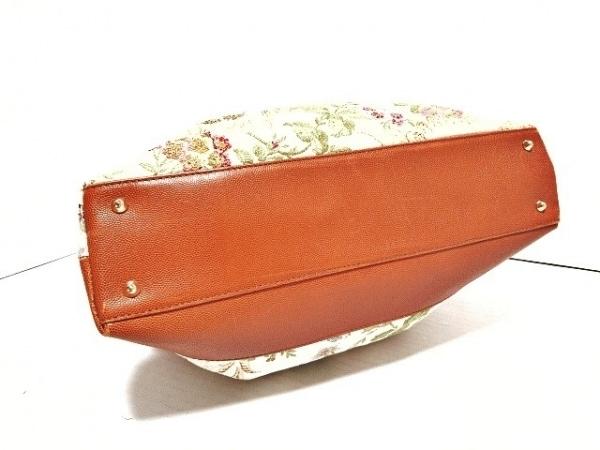 COSCI(コッシー) トートバッグ アイボリー×ブラウン×マルチ 刺繍 コットン×レザー