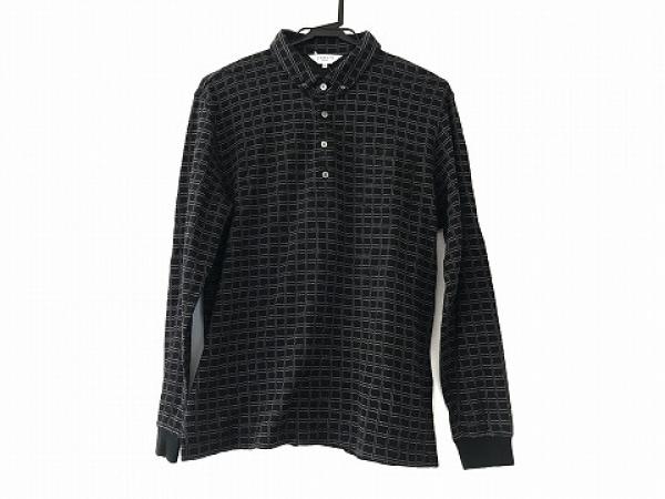 ランバンスポーツ 長袖ポロシャツ サイズ42 L レディース美品  黒×ライトグレー
