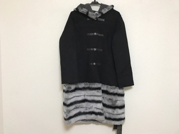 C.ROUAN(セ.ルーアン) コート サイズM〜L レディース 黒×ライトグレー