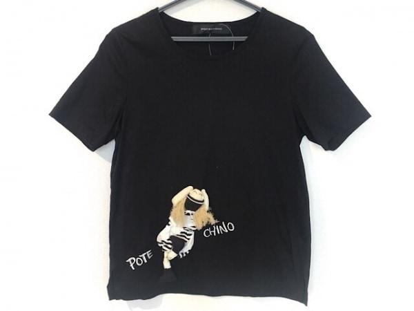 potechino(ポテチーノ) 半袖Tシャツ レディース 黒×マルチ