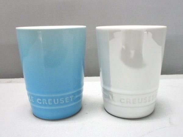 LE CREUSET(ルクルーゼ) 食器新品同様  白×ライトブルー タンブラー×2 陶器