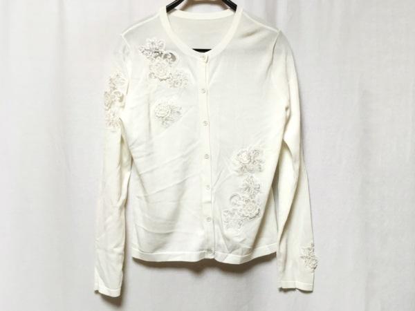 シズカコムロ カーディガン レディース美品  白 フラワー/レース/4298