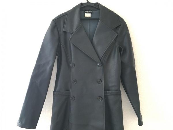 MORGAN DE TOI(モルガン) コート サイズS レディース美品  黒 肩パッド/レザー/冬物