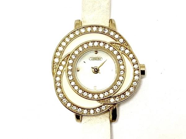 アビステ 腕時計 - レディース 革ベルト/フラワー/ラインストーンベゼル アイボリー