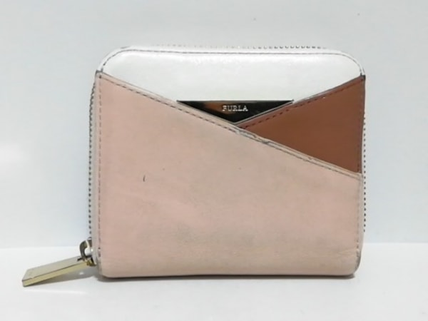FURLA(フルラ) 2つ折り財布 ピンク×ダークブラウン×白 ラウンドファスナー レザー