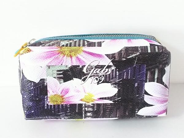 GABS(ガブス) ポーチ美品  ダークブラウン×マルチ 花柄 PVC(塩化ビニール)