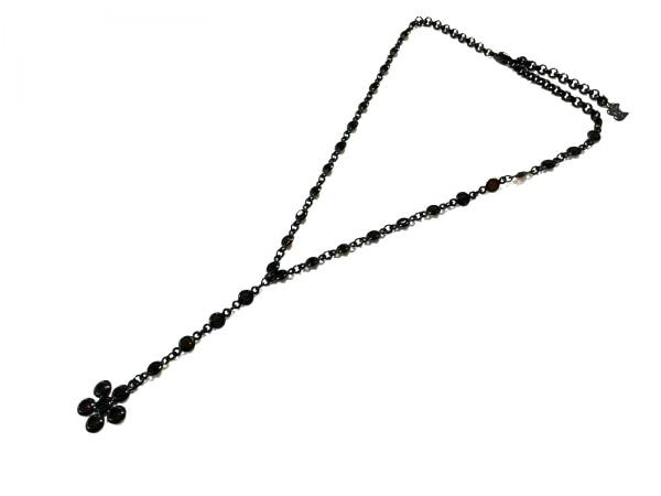 AGATHA(アガタ) ネックレス新品同様  金属素材×カラーストーン 黒×レッド フラワー