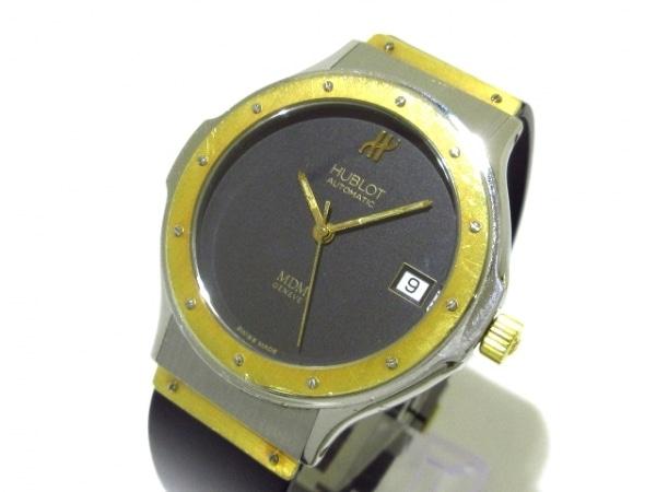 HUBLOT(ウブロ) 腕時計 MDM 1581.2 レディース SS×K18YG/ラバーベルト 黒